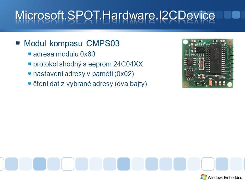 Modul kompasu CMPS03 adresa modulu 0x60 protokol shodný s eeprom 24C04XX nastavení adresy v paměti (0x02) čtení dat z vybrané adresy (dva bajty)