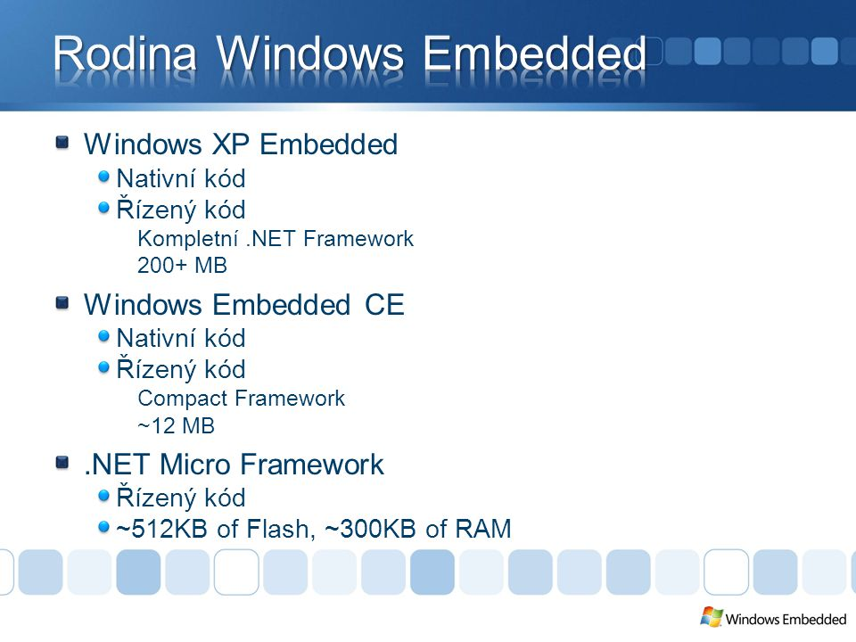 Microsoft Visual Studio 2005.NET Micro Framework SDK Ke stažení zdarma Hardware (platforma) SDK k platformě dodává výrobce Cena zahrnuje licenci za.NET Micro Framework Podpora Primárně zajišťuje výrobce hardware řešení problémů vývoj driverů úpravy PAL a HAL
