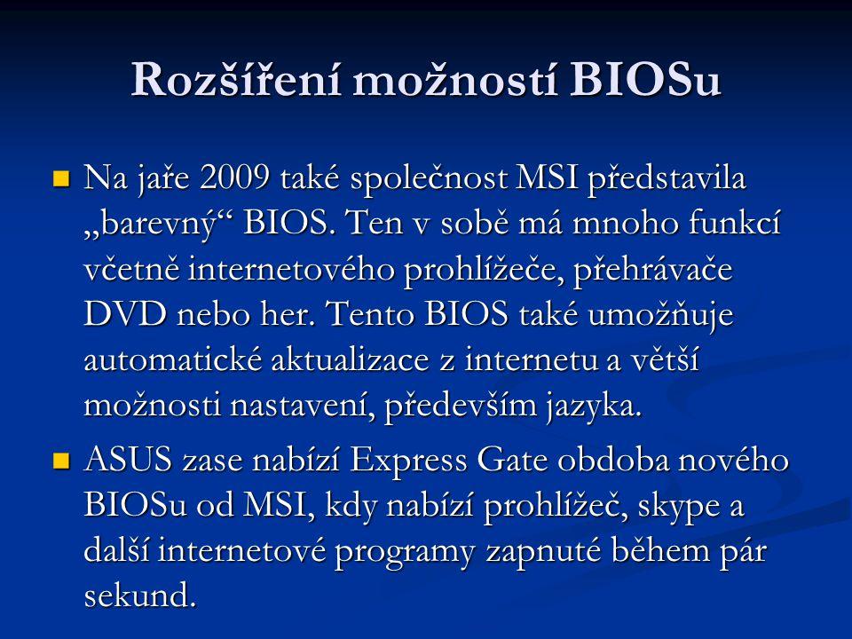 """Rozšíření možností BIOSu Na jaře 2009 také společnost MSI představila """"barevný BIOS."""