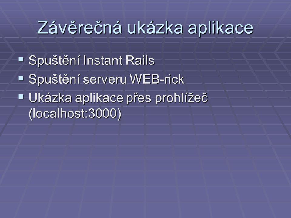 Závěrečná ukázka aplikace  Spuštění Instant Rails  Spuštění serveru WEB-rick  Ukázka aplikace přes prohlížeč (localhost:3000)