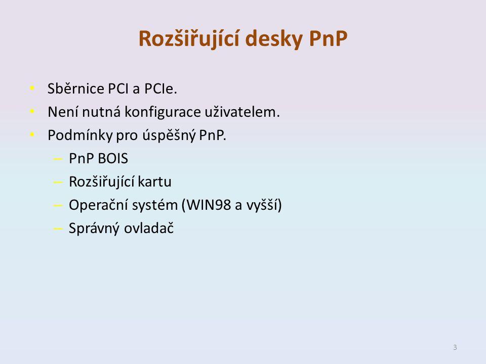 Rozšiřující desky PnP Sběrnice PCI a PCIe. Není nutná konfigurace uživatelem. Podmínky pro úspěšný PnP. – PnP BOIS – Rozšiřující kartu – Operační syst