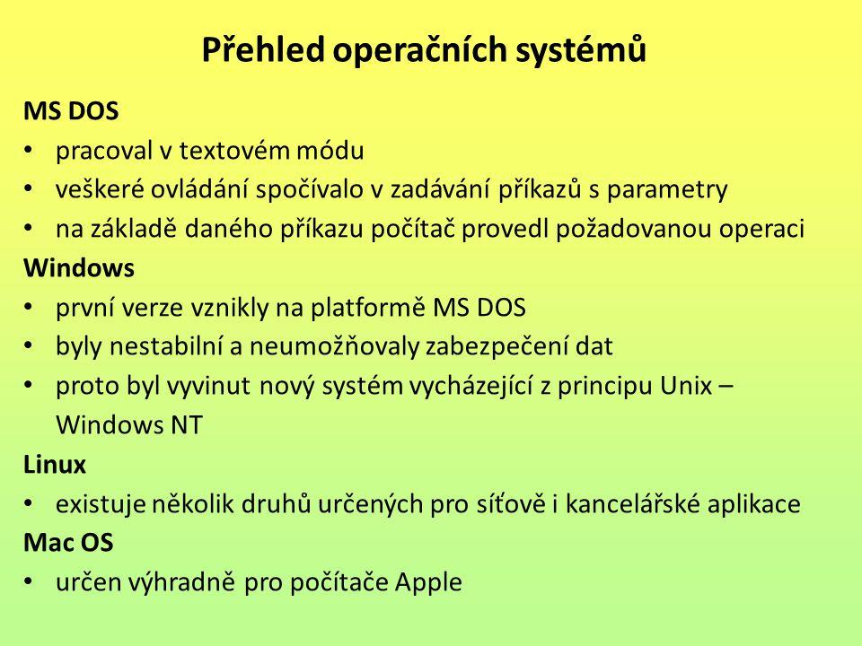 MS DOS pracoval v textovém módu veškeré ovládání spočívalo v zadávání příkazů s parametry na základě daného příkazu počítač provedl požadovanou operac