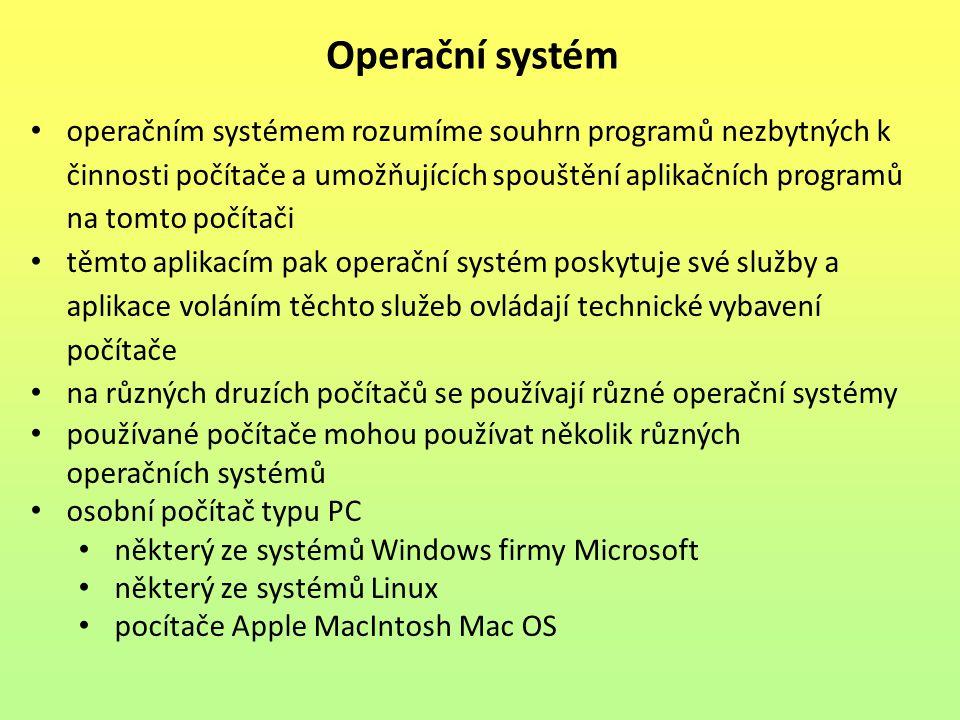 operačním systémem rozumíme souhrn programů nezbytných k činnosti počítače a umožňujících spouštění aplikačních programů na tomto počítači těmto aplik