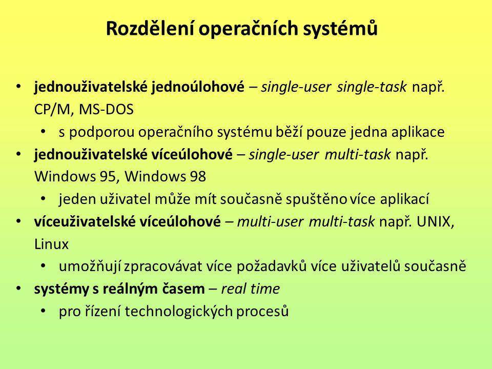 jednouživatelské jednoúlohové – single-user single-task např. CP/M, MS-DOS s podporou operačního systému běží pouze jedna aplikace jednouživatelské ví