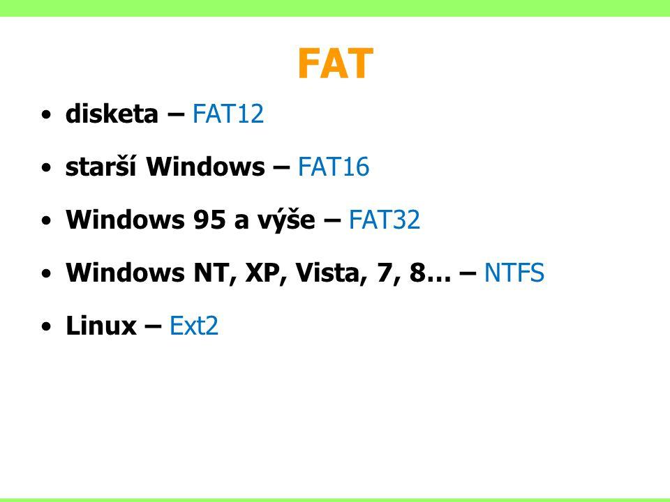 FAT disketa – FAT12 starší Windows – FAT16 Windows 95 a výše – FAT32 Windows NT, XP, Vista, 7, 8… – NTFS Linux – Ext2
