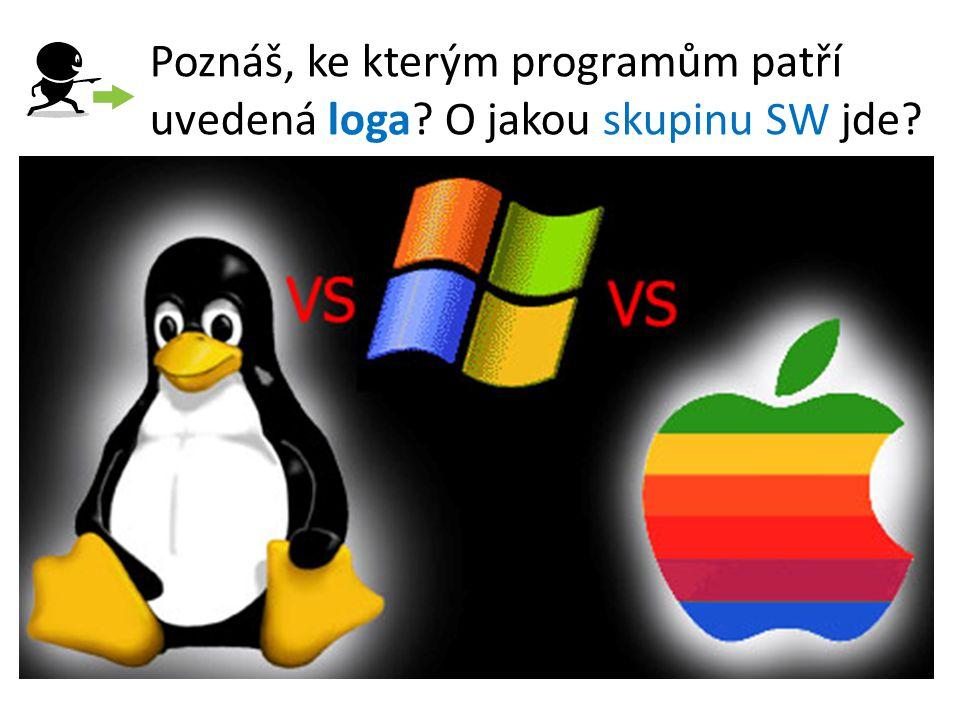 Poznáš, ke kterým programům patří uvedená loga? O jakou skupinu SW jde?