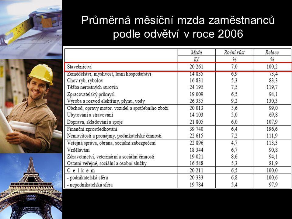 Průměrná měsíční mzda zaměstnanců podle odvětví v roce 2006