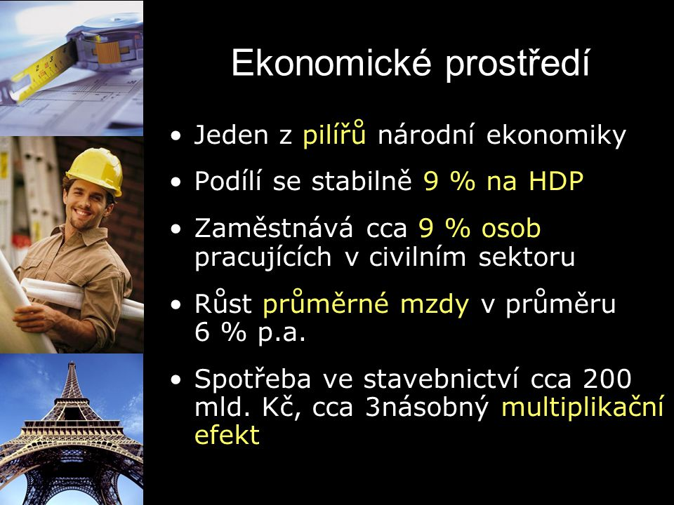 Ekonomické prostředí Jeden z pilířů národní ekonomiky Podílí se stabilně 9 % na HDP Zaměstnává cca 9 % osob pracujících v civilním sektoru Růst průměr