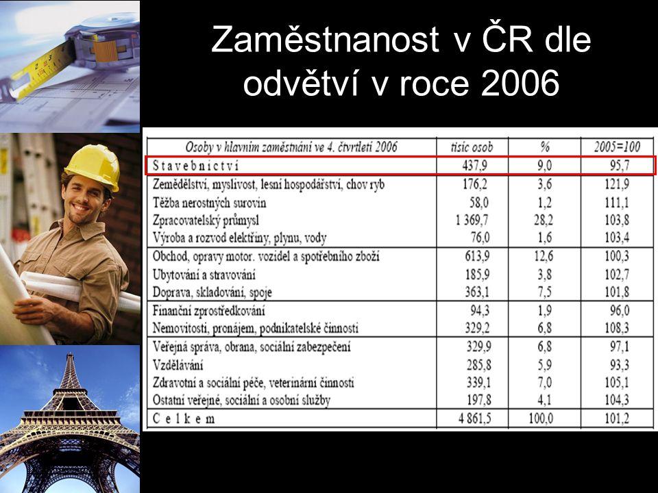 Zaměstnanost v ČR dle odvětví v roce 2006