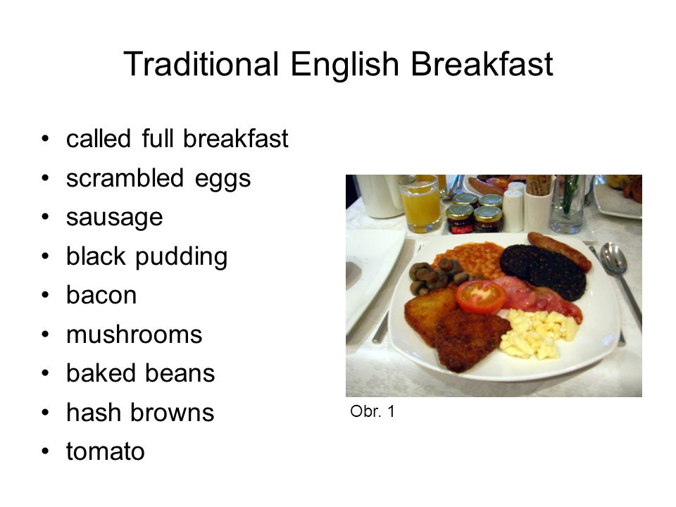 Traditional English Breakfast called full breakfast scrambled eggs sausage black pudding bacon mushrooms baked beans hash browns tomato Obr.