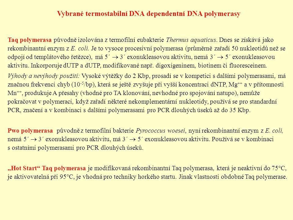 Vybrané termostabilní DNA dependentní DNA polymerasy Taq polymerasa původně izolována z termofilní eubakterie Thermus aquaticus. Dnes se získává jako