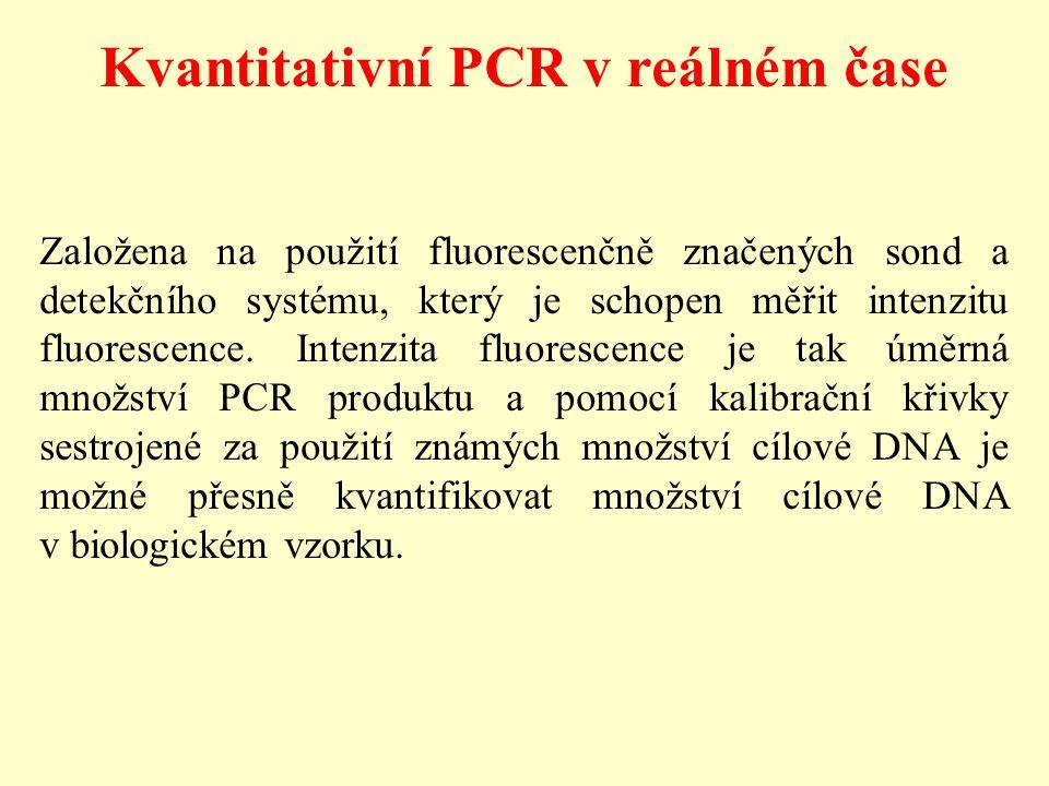 Kvantitativní PCR v reálném čase Založena na použití fluorescenčně značených sond a detekčního systému, který je schopen měřit intenzitu fluorescence.