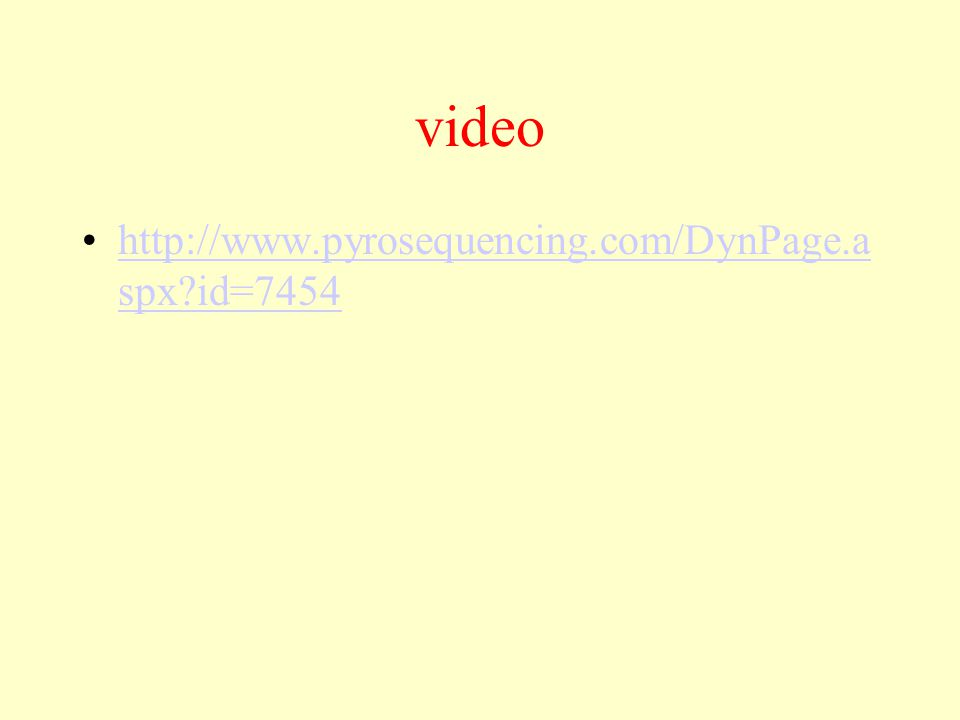 video http://www.pyrosequencing.com/DynPage.a spx?id=7454http://www.pyrosequencing.com/DynPage.a spx?id=7454