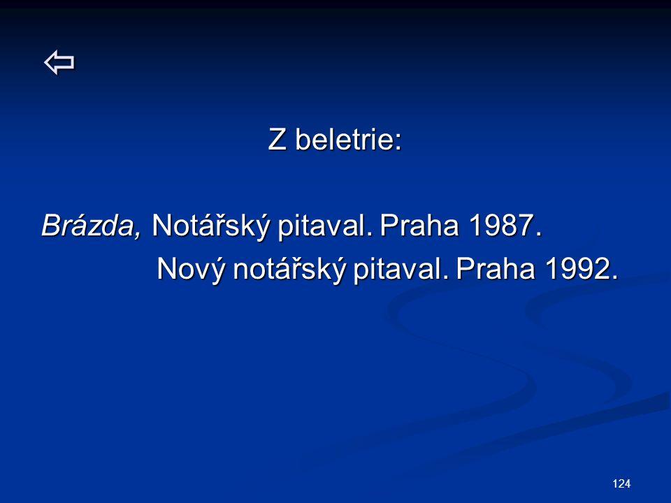 124  Z beletrie: Brázda, Notářský pitaval. Praha 1987. Nový notářský pitaval. Praha 1992. Nový notářský pitaval. Praha 1992.