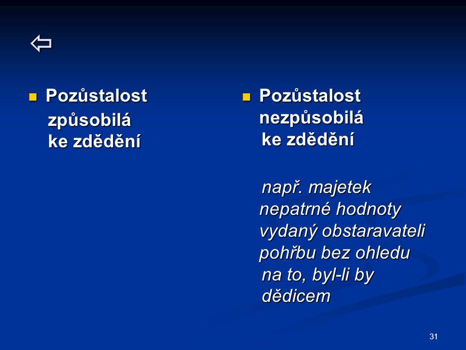 32 PŘEDMĚT PRÁVA DĚDICKÉHO Dědictví (aktiva a pasiva) Dědictví (aktiva a pasiva) = zanechané (zůstavené) jmění způsobilé = zanechané (zůstavené) jmění způsobilé dědického přechodu mortis causa, dědického přechodu mortis causa, ocenitelné cenou obvyklou (obecnou) ocenitelné cenou obvyklou (obecnou) např.