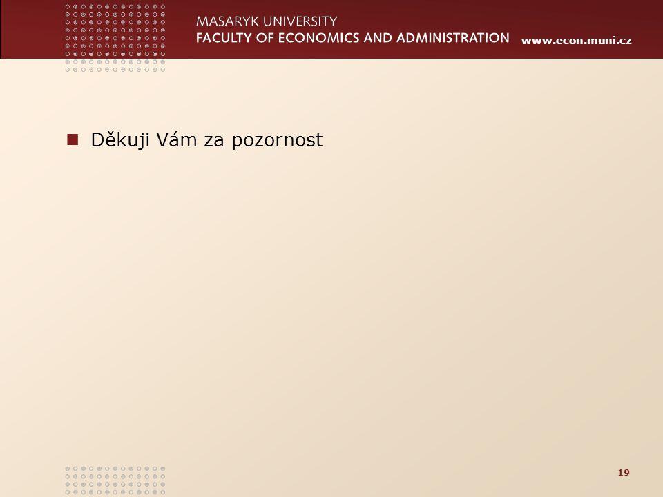 www.econ.muni.cz Děkuji Vám za pozornost 19