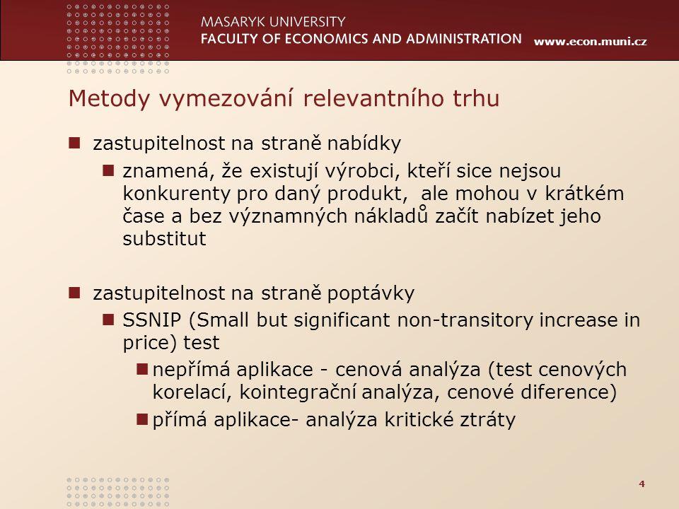 www.econ.muni.cz Cenové analýzy pro české dopravní prostředí většinou nevhodné významná část přepravních výkonů v závazku veřejné služby ceny jízdného často nastaveny síťově krátké časové řady úprava cen max.