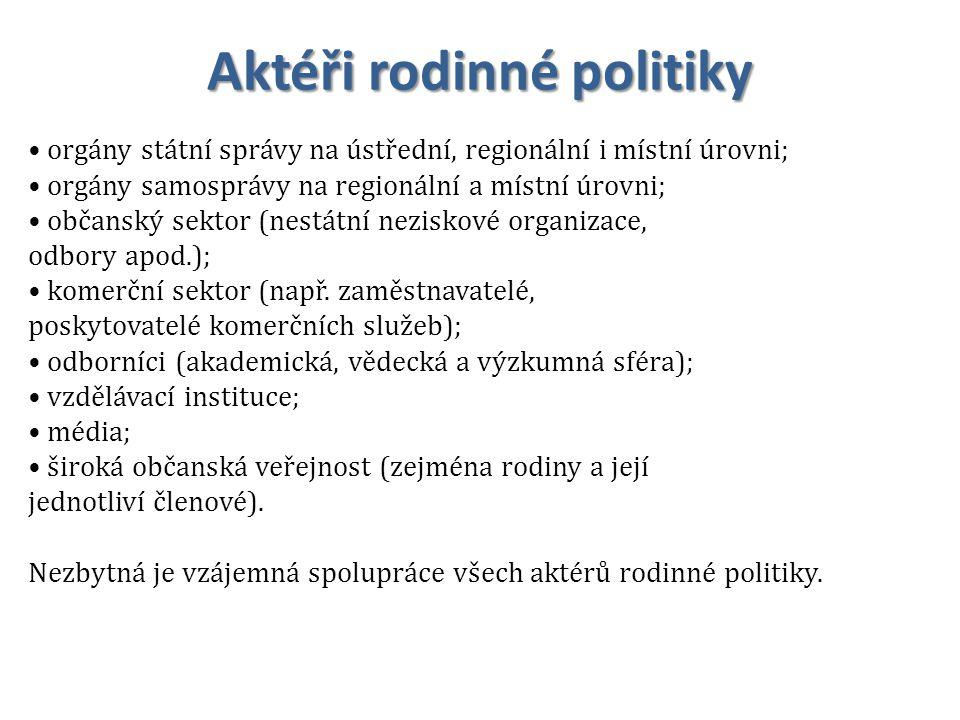 Aktéři rodinné politiky orgány státní správy na ústřední, regionální i místní úrovni; orgány samosprávy na regionální a místní úrovni; občanský sektor