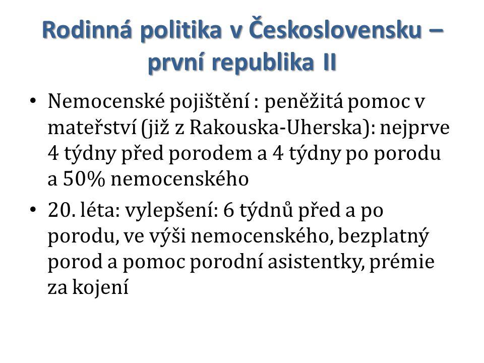Rodinná politika v Československu – první republika II Nemocenské pojištění : peněžitá pomoc v mateřství (již z Rakouska-Uherska): nejprve 4 týdny pře