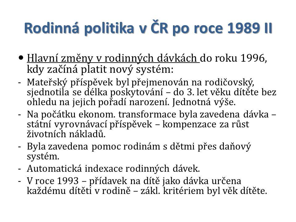 Rodinná politika v ČR po roce 1989 II Hlavní změny v rodinných dávkách do roku 1996, kdy začíná platit nový systém: -Mateřský příspěvek byl přejmenová