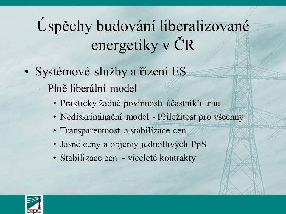 Úspěchy budování liberalizované energetiky v ČR Systémové služby a řízení ES –Plně liberální model Prakticky žádné povinnosti účastníků trhu Nediskriminační model - Příležitost pro všechny Transparentnost a stabilizace cen Jasné ceny a objemy jednotlivých PpS Stabilizace cen - víceleté kontrakty