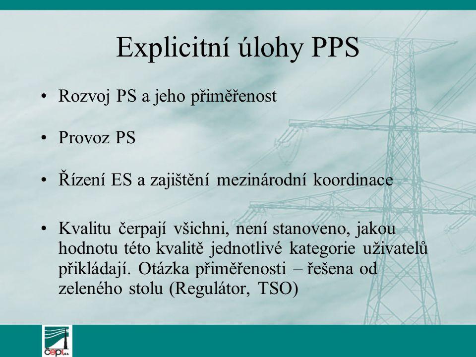 Explicitní úlohy PPS Rozvoj PS a jeho přiměřenost Provoz PS Řízení ES a zajištění mezinárodní koordinace Kvalitu čerpají všichni, není stanoveno, jakou hodnotu této kvalitě jednotlivé kategorie uživatelů přikládají.