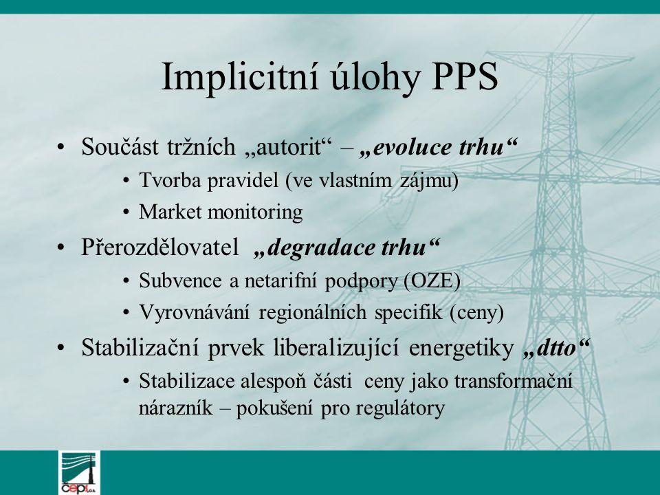 """Implicitní úlohy PPS Součást tržních """"autorit – """"evoluce trhu Tvorba pravidel (ve vlastním zájmu) Market monitoring Přerozdělovatel""""degradace trhu Subvence a netarifní podpory (OZE) Vyrovnávání regionálních specifik (ceny) Stabilizační prvek liberalizující energetiky """"dtto Stabilizace alespoň části ceny jako transformační nárazník – pokušení pro regulátory"""