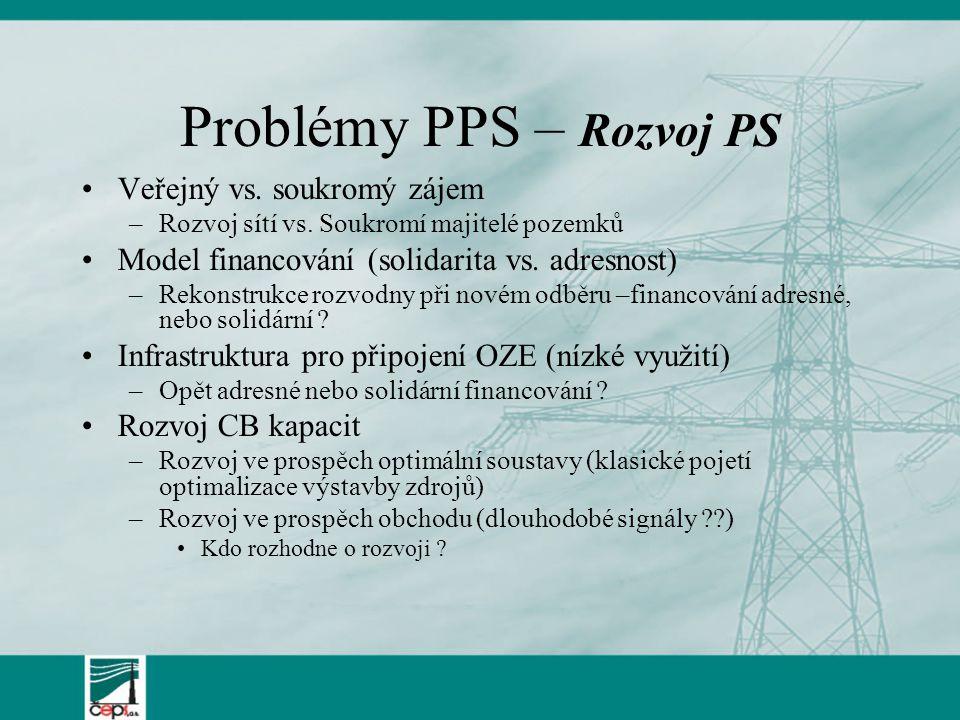 Problémy PPS – Rozvoj PS Veřejný vs. soukromý zájem –Rozvoj sítí vs.