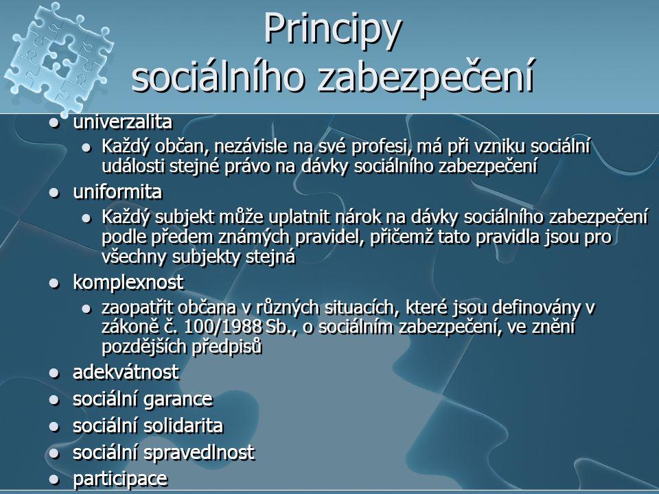 Principy sociálního zabezpečení univerzalita Každý občan, nezávisle na své profesi, má při vzniku sociální události stejné právo na dávky sociálního zabezpečení uniformita Každý subjekt může uplatnit nárok na dávky sociálního zabezpečení podle předem známých pravidel, přičemž tato pravidla jsou pro všechny subjekty stejná komplexnost zaopatřit občana v různých situacích, které jsou definovány v zákoně č.