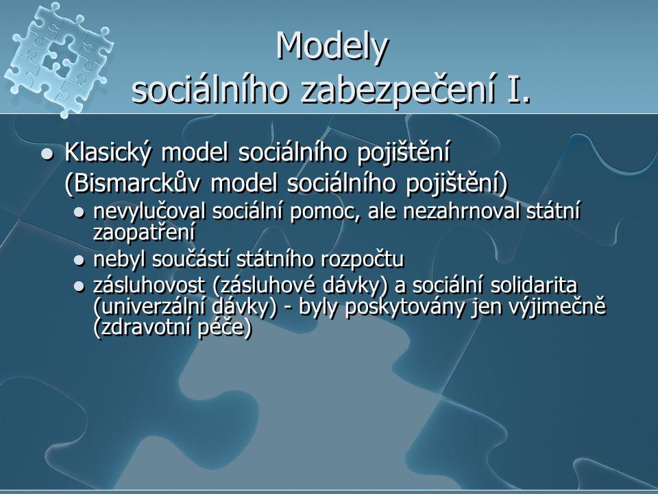 Modely sociálního zabezpečení I. Klasický model sociálního pojištění (Bismarckův model sociálního pojištění) nevylučoval sociální pomoc, ale nezahrnov