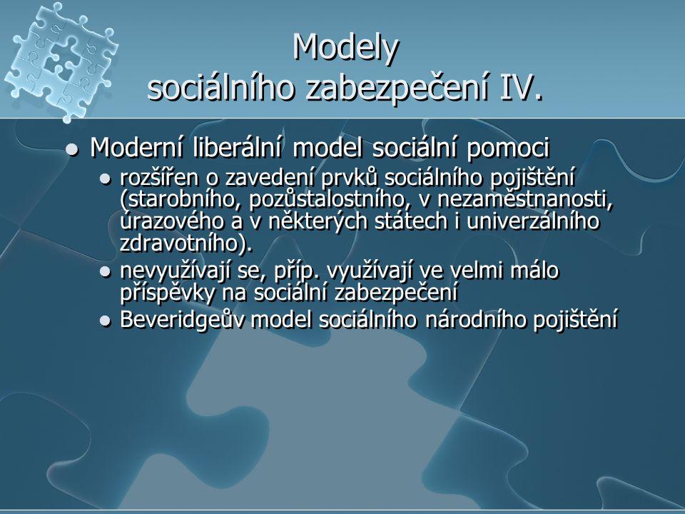 Modely sociálního zabezpečení IV. Moderní liberální model sociální pomoci rozšířen o zavedení prvků sociálního pojištění (starobního, pozůstalostního,