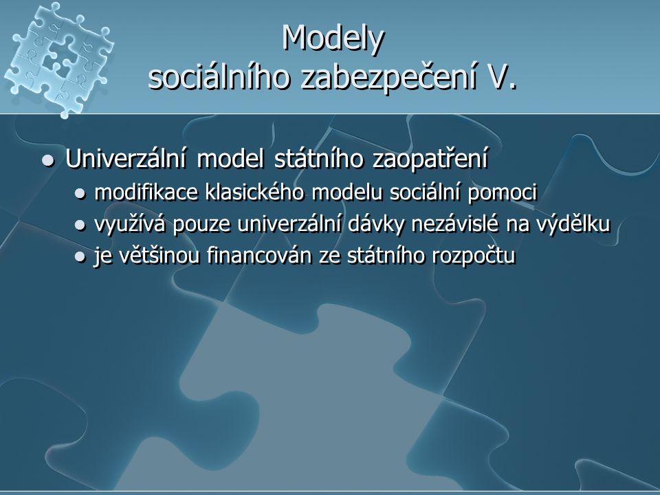 Modely sociálního zabezpečení V. Univerzální model státního zaopatření modifikace klasického modelu sociální pomoci využívá pouze univerzální dávky ne