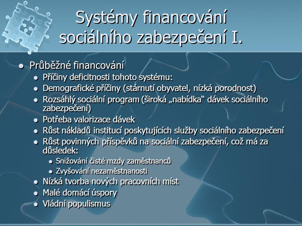 Systémy financování sociálního zabezpečení I. Průběžné financování Příčiny deficitnosti tohoto systému: Demografické příčiny (stárnutí obyvatel, nízká