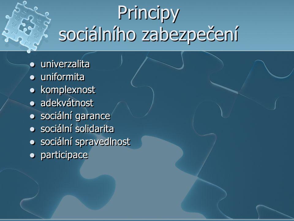 Principy sociálního zabezpečení univerzalita uniformita komplexnost adekvátnost sociální garance sociální solidarita sociální spravedlnost participace