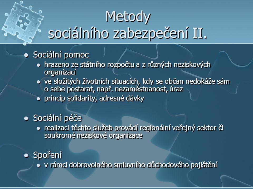Metody sociálního zabezpečení II. Sociální pomoc hrazeno ze státního rozpočtu a z různých neziskových organizací ve složitých životních situacích, kdy