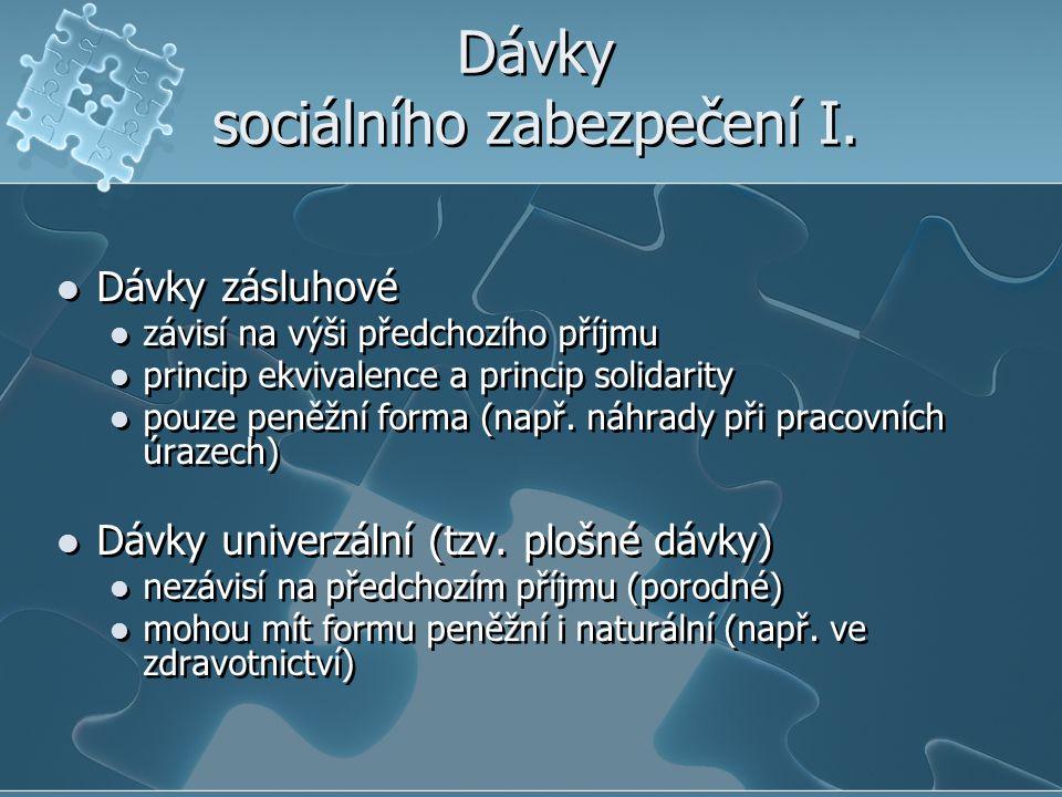 Dávky sociálního zabezpečení I. Dávky zásluhové závisí na výši předchozího příjmu princip ekvivalence a princip solidarity pouze peněžní forma (např.