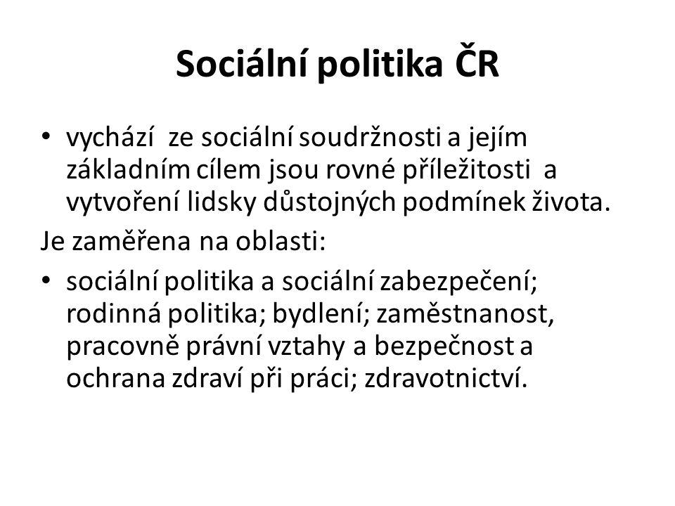 Sociální politika ČR vychází ze sociální soudržnosti a jejím základním cílem jsou rovné příležitosti a vytvoření lidsky důstojných podmínek života.