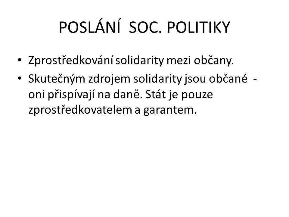 POSLÁNÍ SOC. POLITIKY Zprostředkování solidarity mezi občany.
