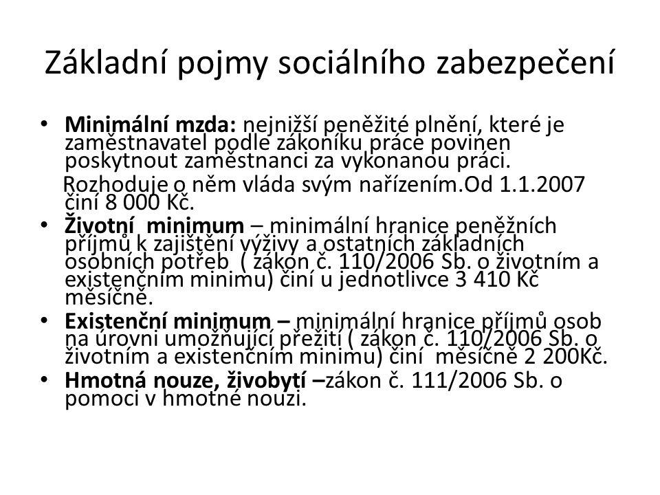 Základní pojmy sociálního zabezpečení Minimální mzda: nejnižší peněžité plnění, které je zaměstnavatel podle zákoníku práce povinen poskytnout zaměstnanci za vykonanou práci.