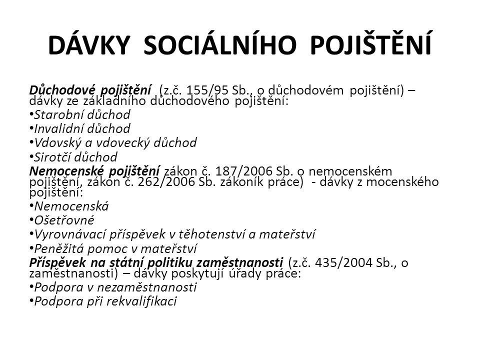 DÁVKY SOCIÁLNÍHO POJIŠTĚNÍ Důchodové pojištění (z.č.