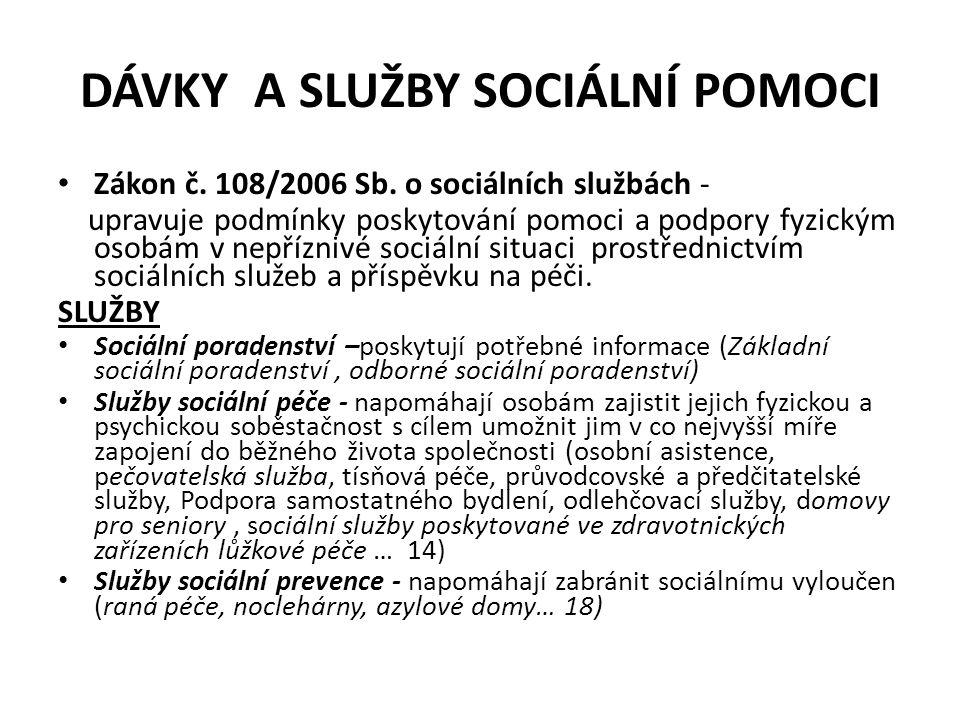 DÁVKY A SLUŽBY SOCIÁLNÍ POMOCI Zákon č. 108/2006 Sb.