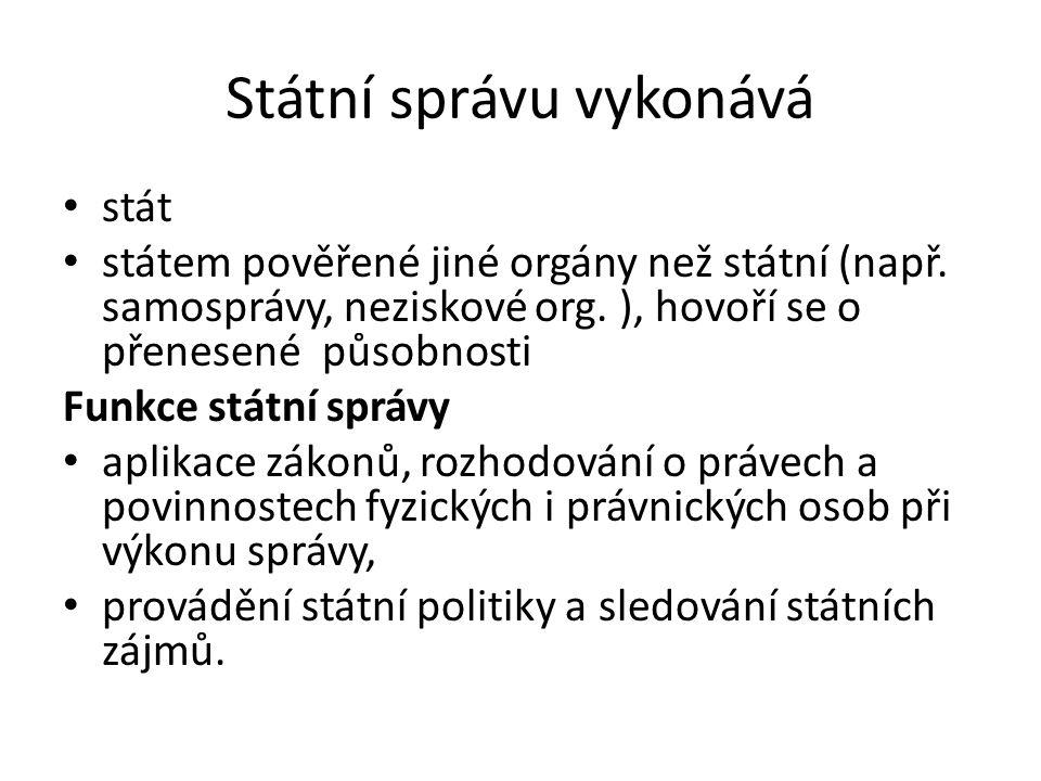 Státní správu vykonává stát státem pověřené jiné orgány než státní (např.