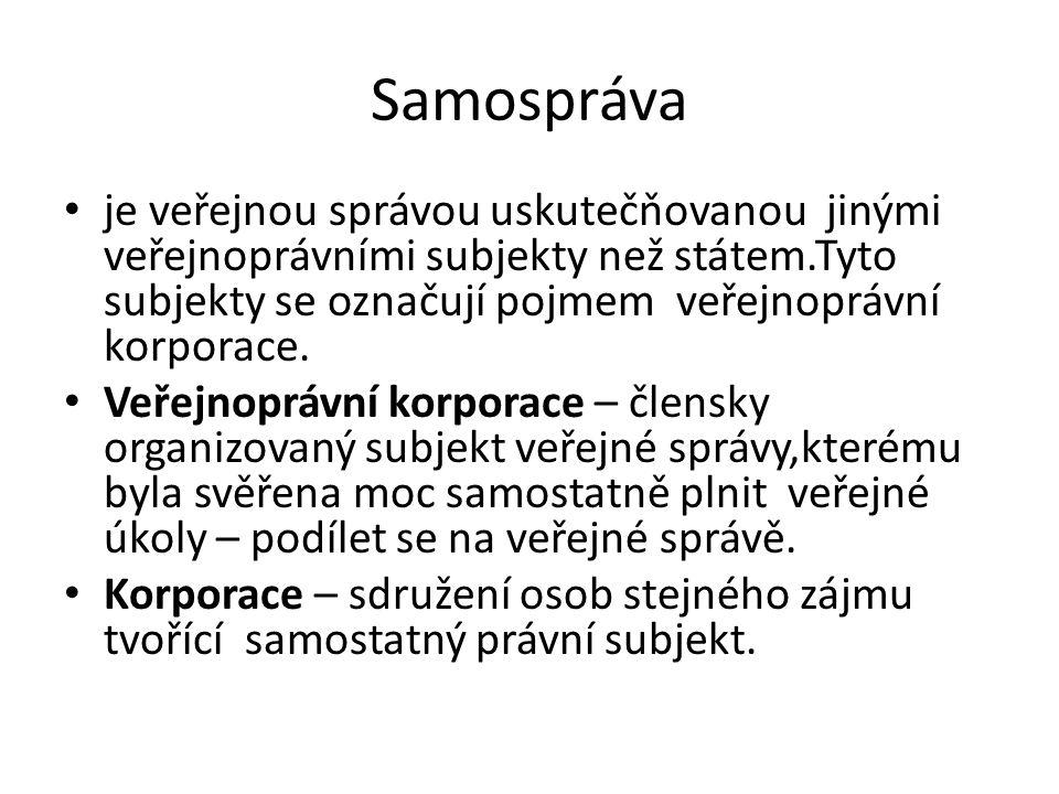 Orgány samosprávy Krajské úřady (zákon č.129/2000 Sb.