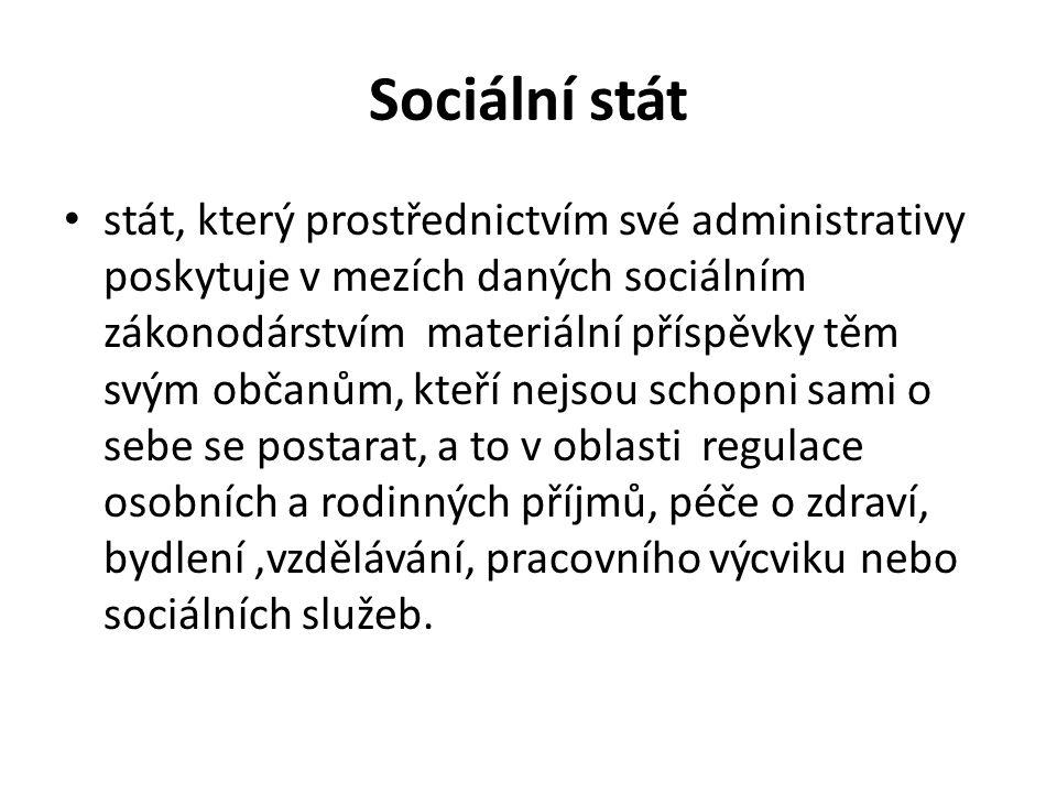 Sociální stát stát, který prostřednictvím své administrativy poskytuje v mezích daných sociálním zákonodárstvím materiální příspěvky těm svým občanům, kteří nejsou schopni sami o sebe se postarat, a to v oblasti regulace osobních a rodinných příjmů, péče o zdraví, bydlení,vzdělávání, pracovního výcviku nebo sociálních služeb.