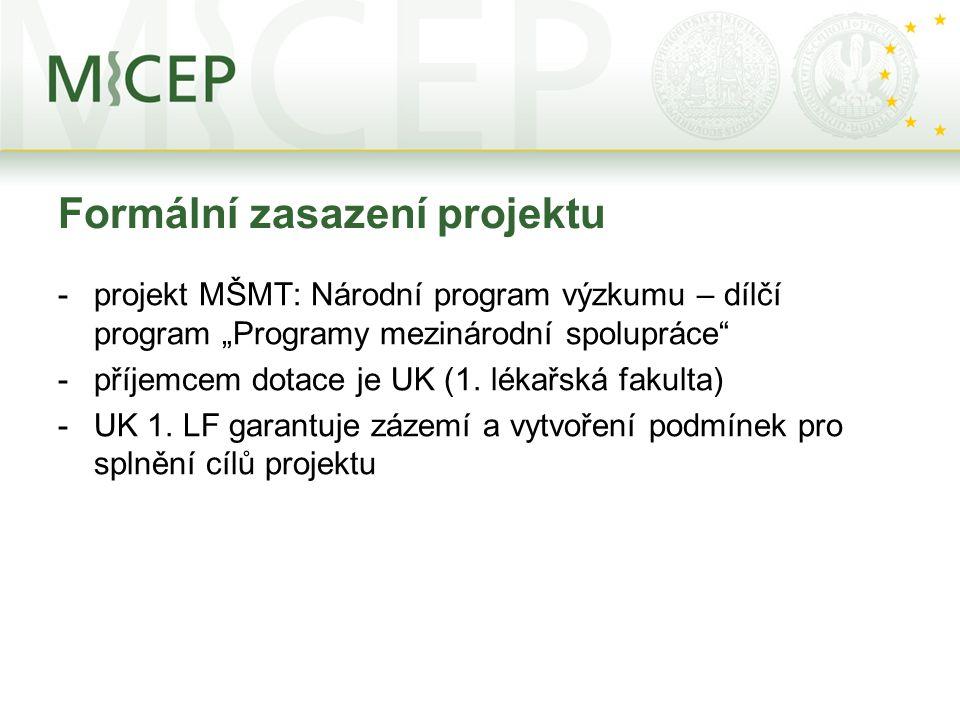 """Formální zasazení projektu -projekt MŠMT: Národní program výzkumu – dílčí program """"Programy mezinárodní spolupráce"""" -příjemcem dotace je UK (1. lékařs"""