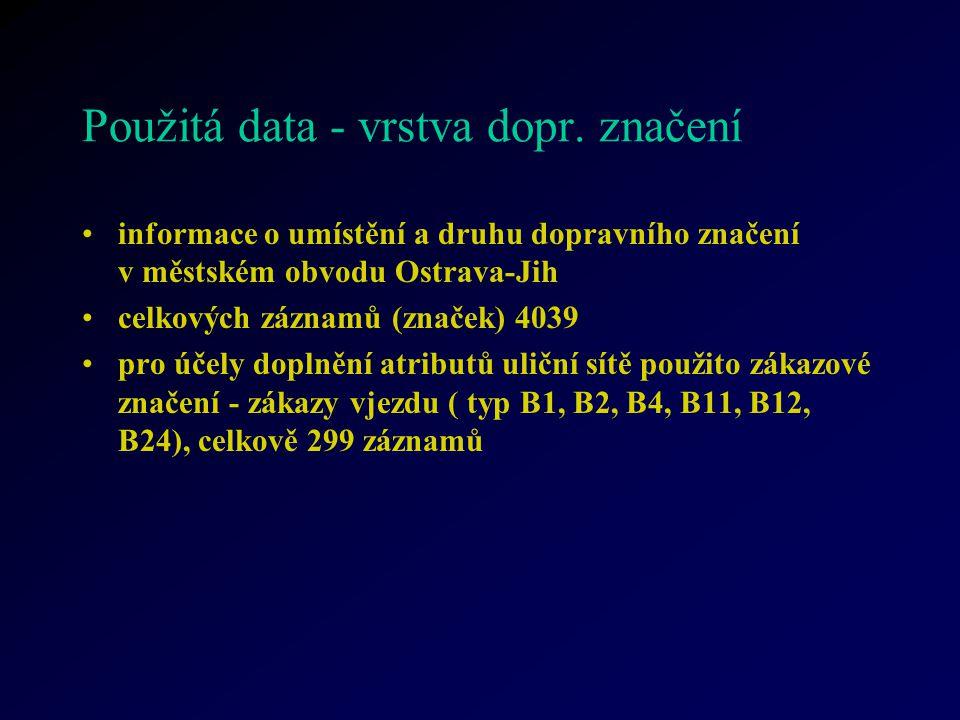 Použitá data - vrstva dopr. značení informace o umístění a druhu dopravního značení v městském obvodu Ostrava-Jih celkových záznamů (značek) 4039 pro