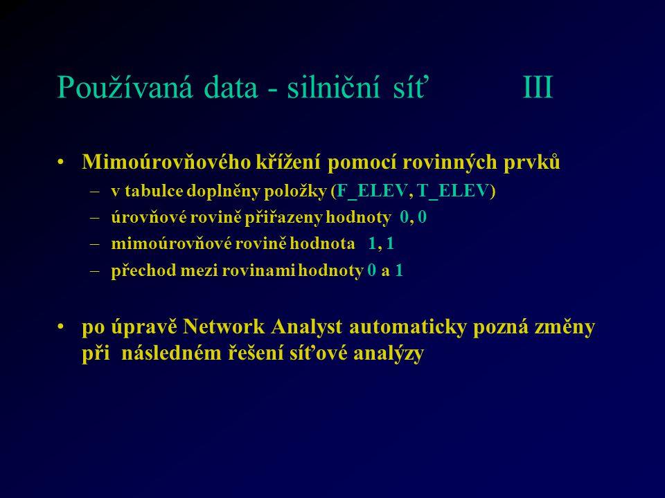 Používaná data - silniční síť III Mimoúrovňového křížení pomocí rovinných prvků –v tabulce doplněny položky (F_ELEV, T_ELEV) –úrovňové rovině přiřazeny hodnoty 0, 0 –mimoúrovňové rovině hodnota 1, 1 –přechod mezi rovinami hodnoty 0 a 1 po úpravě Network Analyst automaticky pozná změny při následném řešení síťové analýzy