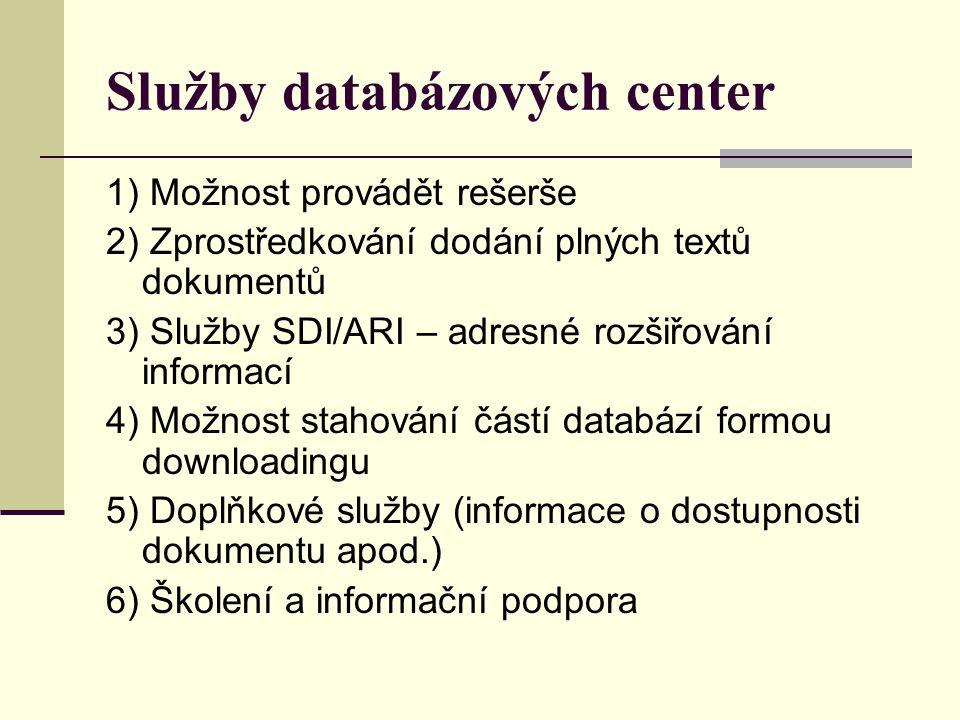 Služby databázových center 1) Možnost provádět rešerše 2) Zprostředkování dodání plných textů dokumentů 3) Služby SDI/ARI – adresné rozšiřování inform
