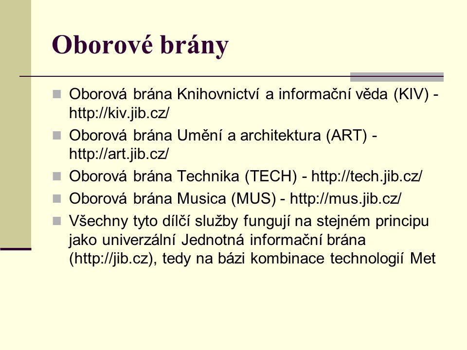 Oborové brány Oborová brána Knihovnictví a informační věda (KIV) - http://kiv.jib.cz/ Oborová brána Umění a architektura (ART) - http://art.jib.cz/ Ob