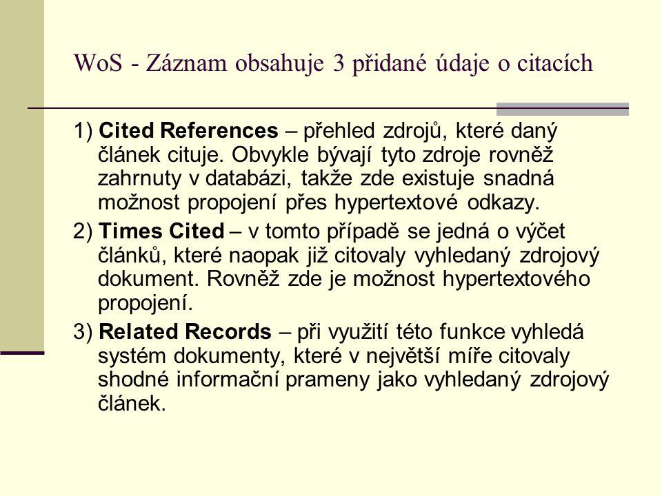WoS - Záznam obsahuje 3 přidané údaje o citacích 1) Cited References – přehled zdrojů, které daný článek cituje. Obvykle bývají tyto zdroje rovněž zah